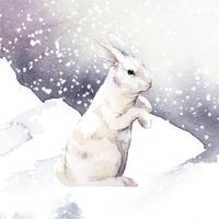Wild white rabbit in a winter wonderland painted by watercolor vector