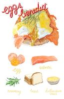 Disegnato a mano stile acquerello benedicato dell'uovo