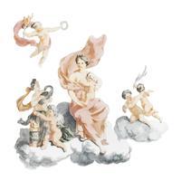 Illustrazione d'epoca di Ercole e Giunone