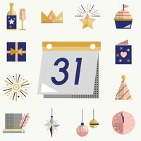 New year icons set vector