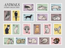 Set van postzegels met verschillende dieren. Elementen uit het publieke domein, bewerkt door rawpixel.