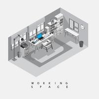 Espacio de trabajo contemporáneo aislado en el fondo