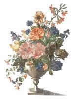 Weinleseillustration eines Vase mit Blumen