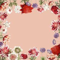 Dibujado a mano marco de flor de anémona roja con espacio de diseño