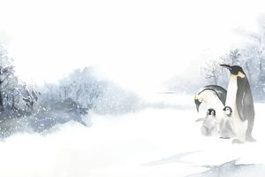 Penguins in a winter wonderland watercolor vector