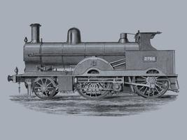 Locomotive (1891) by Francis William Webb (1836–1906), a beautifully detailed design of an engine train and its compartments. Digitally enhanced by rawpixel.