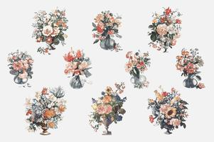 Vintage illustration of set of vases with flowers