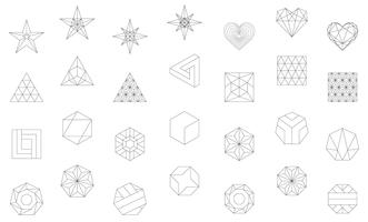 Linear illustration of geometric shapes