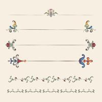 Tappning blomstra prydnad illustration uppsättning