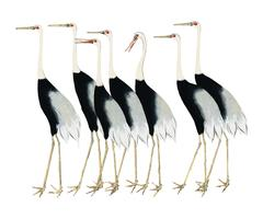 A traditional portrait of a flock of beautiful Japanese red crown crane by Ogata Korin (1658-1716). Digitally enhanced by rawpixel.