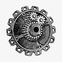 Gear cog in vintage style