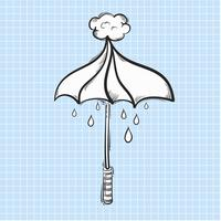 Illustrazione di ombrello e pioggia isolato su sfondo