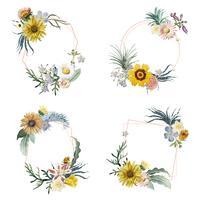 Emblemas de flor emoldurada