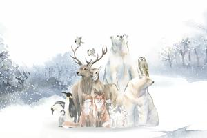 Group of wild animals in the snow drawn in watercolor