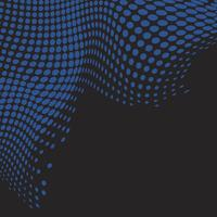 Blue wavy halftone black background vector