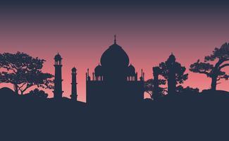 Silhouette du vecteur du Taj Mahal