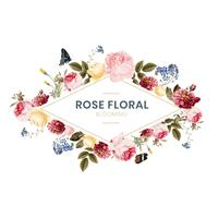 Illustrazione di carta cornice floreale fiorito