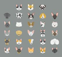 Cats and dogs icon collection