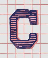 Capital letter C vintage typography style