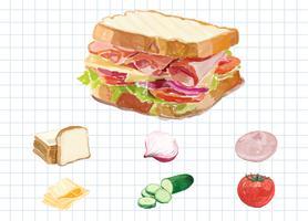 Estilo de aquarela sanduíche desenhado de mão