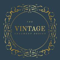 Emblema de art nouveau dourado vintage no vetor azul