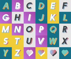 Set of alphabet typography