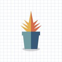 Ilustración de un cactus de color en una olla