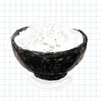 Handritad vit ris akvarell stil