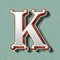Capital letter K vintage typography style