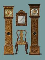 An illustration of Edwardian furniture (1905) drawn by Shirley Slocombe, a beautifully detailed design of a wooden chair, framed mirror and two grandfather clocks. Digitally enhanced by rawpixel.