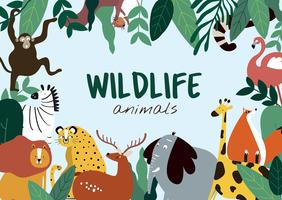 Wildlife animals cartoon style animals template vector