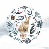 Kanin omgiven av vinterblomman målad med vattenfärgvektor