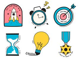 Handdragen uppsättning idé och affärssymboler illustration
