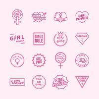 Flicka makt blandade emblem sätta illustration