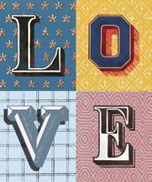 Palavra amor estilo de tipografia vintage