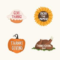 Set of Thanksgiving and autumn illustrations