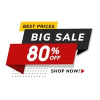 Big sale 80% off promotion shop advertisement vector