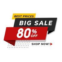 Stor försäljning 80% rabatt reklamaffär reklam vektor