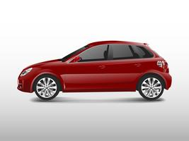 Red hatchback car isolated on white vector