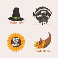 Set van Thanksgiving en herfst illustraties