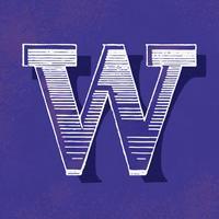 Mayúscula W estilo de tipografía vintage