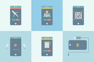 Sats med olika program grafiska på mobilen
