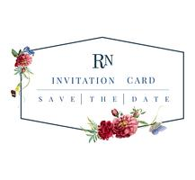 Floral invitation card mockup illustration