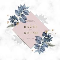 Cartão de convite de casamento floral azul