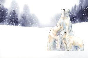 Eisbären im Schneeaquarellvektor