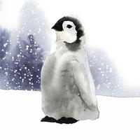 Giovane pinguino di imperatore nel vettore dell'acquerello della neve