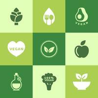 Collection de vecteurs d'icône végétalien