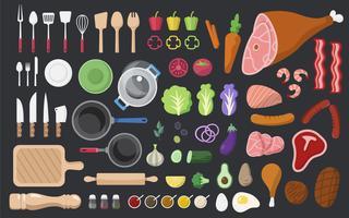 Cocinar los ingredientes y herramientas conjunto de vectores