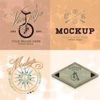 Set of vintage mockup logo design vector