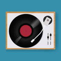 Retro Vinyl Disc Turntable Player Icon Illustration Vektor